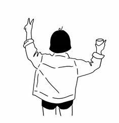 Minimal Drawings, Art Drawings Sketches, Easy Drawings, Cartoon Girl Drawing, Cartoon Art, Minimalist Drawing, Simple Doodles, Simple Art, Cute Illustration