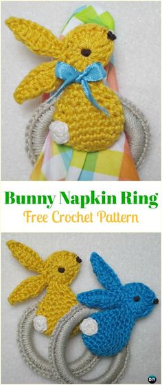 Crochet Rabbit Crochet Bunny Napkin Ring Free Pattern-Crochet Bunny Applique Free Patterns - Crochet Bunny Applique Free Patterns: Easy and Quick Easter Bunny / Rabbit Applique and Motifs crochet pattern most free for Easter crochet decoration Crochet Bunny Pattern, Crochet Edging Patterns, Crochet Rabbit, Crochet Motif, Crochet Edgings, Holiday Crochet, Easter Crochet, Crochet Gifts, Easy Crochet Projects