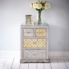China Club Chest of Drawers - Silver and Brushed Gold