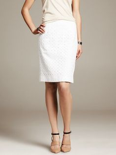 Wearing this for graduation next month: White Eyelet Pencil Skirt Product Image