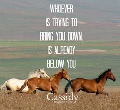 Whoever is trying to bring you down, is already below you  Cassidy Magazine Living Life the Cowgirl Way