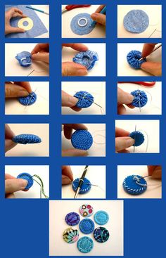 Easy Sewing Projects Quilting Projects Sewing Crafts Yo Yo Quilt Tassel Keychain Fabric Scraps Fabric Dolls Hobbies And Crafts Crafts To Do Fabric Earrings, Fabric Beads, Fabric Jewelry, Crochet Buttons, Diy Buttons, How To Make Buttons, Fabric Crafts, Sewing Crafts, Sewing Projects