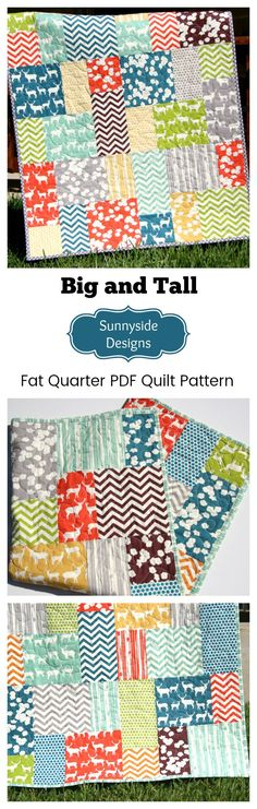 Fat Quarter Quilt Pattern, Beginner Quilt Pattern, Modern Big Block great for Large Prints, Quilting Sewing Project DIY Quick Easy Fast Pattern by Sunnyside Designs