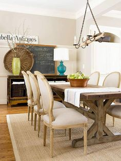 Rug Dining Room Rug Rules mix farm style table with French style side chairs Decor, Room Rugs, Dining Room Rug, Furniture Design, Dining Room Table, Furniture Arrangement, Home Decor, Dining Room Decor, Furniture