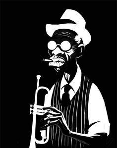 Aquí unos diseños descartados para un trabajo de publicidad. Arte Black, Black Art, Illustrations, Illustration Art, Jazz Poster, Jazz Art, Cartoon Art, Vector Art, Pop Art