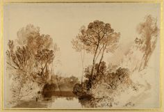 Turner, c. 1810-15, Study of Trees. Pen and sepia ink over graphite with sepia washes and point of the brush on wove paper.  Donated by John Ruskin.