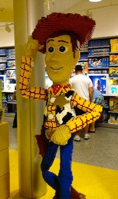 Downtown Disney: Woody made of Legos - Huge Lego store -- and the most amazing Lego creations!