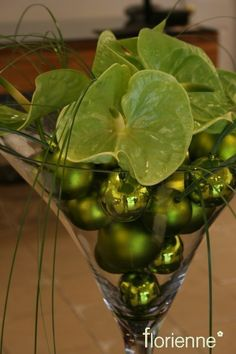 Green balls and green anthuriums Christmas Flowers, Green Christmas, Christmas Is Coming, Christmas Holidays, Christmas Decorations, Holiday Decor, Christmas Displays, Martini Centerpiece, Xmas