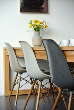 Eames chairs and wooden table via noglitternoglory.com
