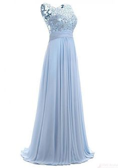 Sky Blue Long Chiffon Prom Dresses with Lace - Simi Bridal
