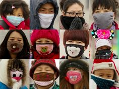 This combo photos show tourists wearing different masks at Tiananmen Square in Beijing on January 30, 2013. Photo: SCMP/Simon Song
