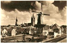 Old photo of the mill in Delft. Molen De Roos.