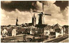 Old photo of the mill in Delft. Molen De Roos.