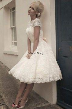 Bateau personnalisé cou à manches courtes blanche/ivoire, 1950 vintage en dentelle robe de mariée courte