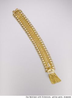 Van Cleef and Arpels Zip Necklace with Extension, Yellow Gold and Diamonds