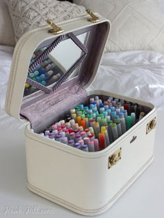 This creative method for marker storage stows your art suppliesYou can find Art supplies and more on our website.This creative method for marker storage stows your art s. Art Supplies Storage, Craft Room Storage, Craft Organization, Organizing Art Supplies, Storage Ideas, Creative Storage, Craft Rooms, Craft Supplies, Baby Supplies