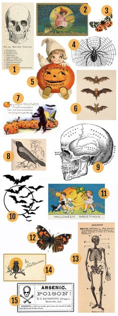 Vintage Stuff Maggie Holmes Vintage Halloween Printables - Hi there! I admit that I didn't do a whole lot of Halloween decorating this year. Normally I love to decorate for Halloween but since I am expecting our baby and nearing the end of my pre… Retro Halloween, Casa Halloween, Vintage Halloween Images, Halloween Clipart, Halloween Prints, Holidays Halloween, Halloween Ideas, Halloween Labels, Halloween Stuff