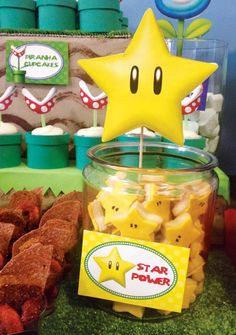 Clever Super Mario Brothers Party Ideas-* Star Power Cookies* Think I'll bake these myself. Super Mario Party, Super Mario Bros, Super Mario Birthday, Mario Birthday Party, Super Mario Brothers, 5th Birthday, Birthday Ideas, Happy Birthday, Nintendo Party