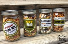 """4 DIY TRAIL MIX GIFTS IN A JAR WITH FREE PRINTABLE LABELS...What says """"summer"""" more than trail mix? I love trail mix! Here are some yummy trail mixes that would make great gifts — perfect for Father's Day, teacher's gifts, birthdays, holidays or just because. They even come with cool, FREE printable labels. culdesaccool.com"""