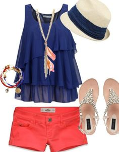 Beaded sandals.coral shorts.dark blue tank top.bangles.feather necklace.hat.