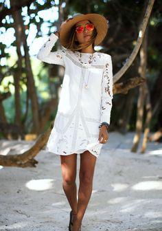 Tropical white crochet dress