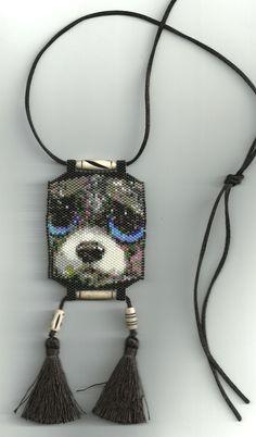 peyote beaded dog necklace