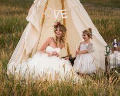 Teepee wedding - floral crown - flower girl - Reign Magazine
