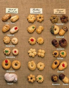 Italian Cookies from Tour Italy Now. Italian cookie recipes represent the country's culinary traditions, from biscotti to pignoli to pizzelles. Cookies play a special role in Italian weddings and holidays.Pinning for the pic (there are no recipes) Italian Cookie Recipes, Italian Cookies, Italian Desserts, Italian Foods, Italian Biscuits, Italian Candy, Italian Wedding Cookies, Italian Ice, Classic Italian