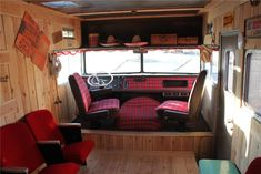 There's so much cool going on in this rehabbed 1972 Winnebago that I'm not sure where to start. I love the theater seats and cedar paneling.