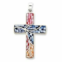 Sterling Silver Mulit-colored Shell Cross Pendant Great Jewelry Company. $82.88. Save 13%!