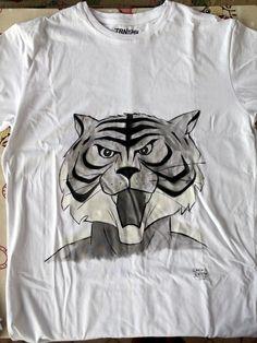 Tigerman #paintonfabric #handmade #paintbrush #tshirt #onsale #tigerman #manga #manga #fanart #fanmade #artoftheday #lovefordrawing #colorful #dariodevito #creativesquare #blackandwhite