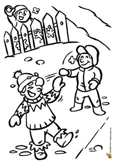 Trois enfants entrain de faire une bataille de boules de neige, dessin à colorier