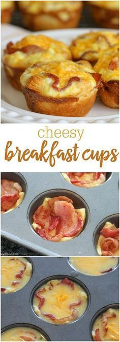Hubby loves these!  breakfast-cups-collageSimple Cheesy Breakfast Bites - a crescent roll bottom with eggs, bacon and cheese on top! The perfect bite size muffins for breakfast or brunch!