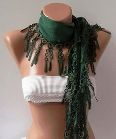 Elegance  Green Shawl / Scarf with Lacy Edge by womann on Etsy, $14.90