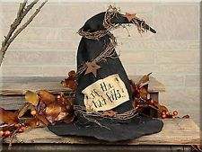 """Primitive Rustic Vintage Old Grungy Halloween """" WITCH HAT """" Fall/ Autumn Decor"""