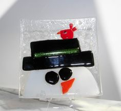 SALE Cheerful Fused Glass Snowman with BIRD by LanieMarieDesigns