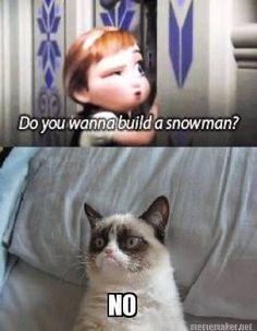 Do you wanna build a snowman? #frozen #grumpycat #snowman