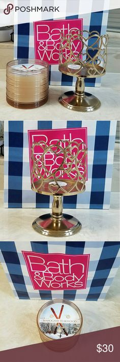$25 TODAY ONLY! NWT B&BW CANDLE & HOLDER SET Both brand new with tags.  Very nice 3 wicks candle holder.  Candle is 13.5 oz burns upto 45 hrs bath & body works Other