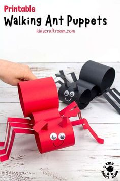 This Walking Ant Craft is sure to delight kids and inspire lots of imaginative play. These ant puppets are easy to make with the printable template and nice and chunky for little hands. Make your paper ant craft move by gently twisting your wrist from side to side. #kidscraftroom #kidscrafts #antcrafts #ants #puppets #puppetcrafts #papercrafts #printablecrafts Ant Crafts, Craft Stick Crafts, Preschool Crafts, Crafts To Make, Crafts For Kids, Dragon Crafts, Paper Craft, Mason Jar Crafts, Mason Jar Diy