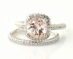 Platinum Morganite Wedding Set Diamond Halo Morganite Engagement Ring Custom Bridal Jewelry