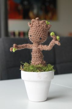 Crocheted baby Groot