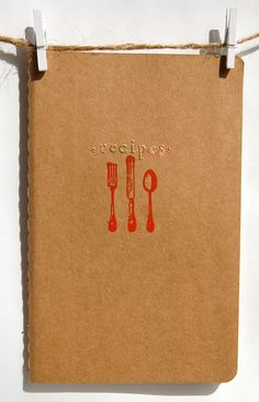 CUSTOM LISTING for DANIELLE Recipe Journal, Craft Paper Brown Notebook, Jotter with Embossed Flatware Silverware. $27.00, via Etsy.