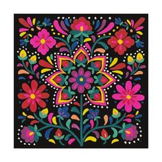 Trademark Fine Art 'Floral Fiesta Iii' Canvas Art by Laura Marshall, Size: 35 x Black Folk Art Flowers, Flower Art, Jewel Tone Decor, Pichwai Paintings, Posca, Mexican Folk Art, Tile Art, Laura Marshall, Stencil