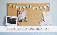 cute DIY burlap pin board