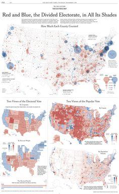 Diferencia de votos a favor de George W. Bush (rojo) o John Kerry (azul) en los distritos electorales de EEUU.