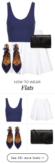 """""""Untitled #9539"""" by alexsrogers on Polyvore featuring Topshop, Aquazzura and Yves Saint Laurent"""