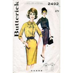 1960s Slim Skirted Bloused Dress Pattern by BessieAndMaive on Etsy