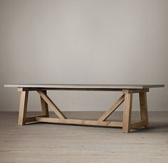 Salvaged Wood & Weathered Concrete Beam Rectangular Dining Table I need a big dinner table to put in Table Beton, Concrete Dining Table, Concrete Furniture, Concrete Wood, Furniture Projects, Dining Room Table, Diy Furniture, Furniture Design, Long Dining Tables