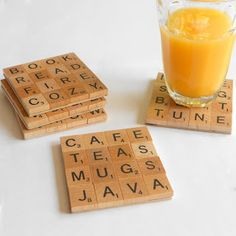 love joy coffee:  Scrabble tile coasters. The spelling of actual words is a nice touch.