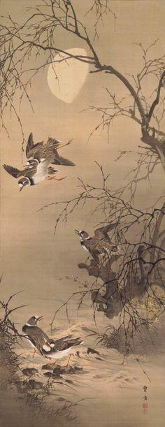 Plovers under the moon 寒汀群鵆図 by Morikawa Sobun, 1847-1902